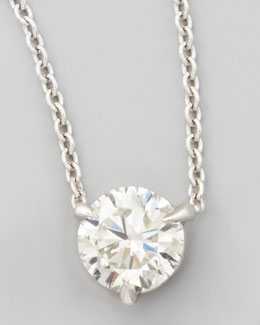 NM Diamond 18k White Gold Diamond Solitaire Pendant Necklace
