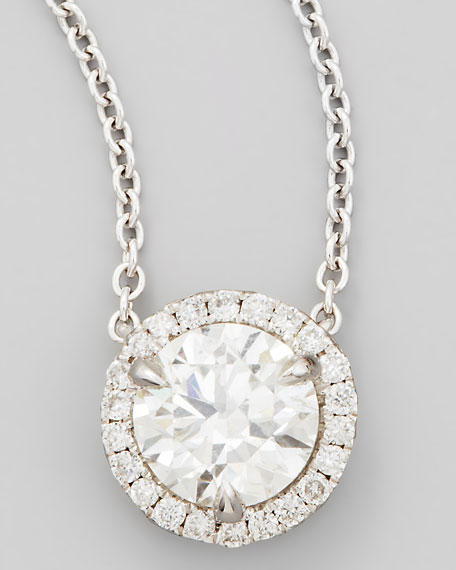 18k White Gold Diamond Solitaire Pendant Necklace with Pave Halo, 1.00ct H/SI1