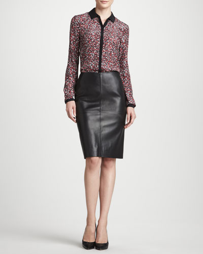 Lafayette 148 New York Spark Printed Silk Blouse & Slim Lamb Leather Pencil Skirt