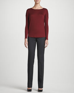 Lafayette 148 New York Wool Jersey Long-Sleeve Top & Barrow Italian Stretch Wool Pants