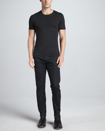 Pocket Crewneck Tee & Straight-Fit Denim Jeans