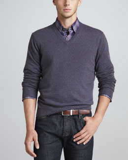Neiman Marcus V-Neck Cashmere Pullover Sweater & Long-Sleeve Sport Shirt