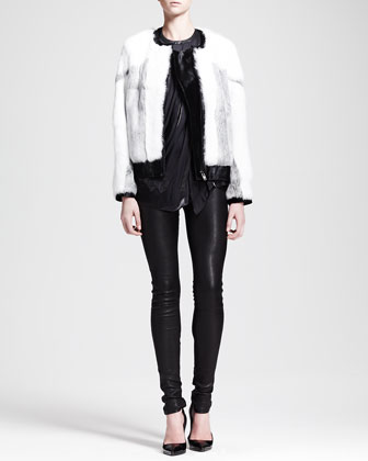 Facet Fur Bomber Jacket, Liquid Sheen Cutaway Tank & Stretch Leather Skinny ...