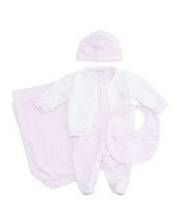 Kissy Kissy Baby Bow Pique Hat, Bib, Knit Cardigan Footie & Blanket