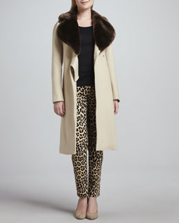 kate spade new york briella faux-fur-collar coat & broome street leopard-print jeans