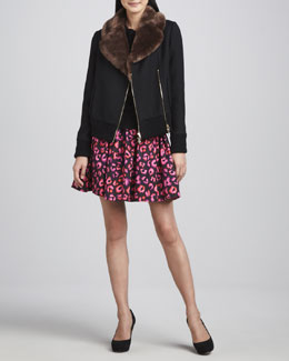kate spade new york trina fur-collar jacket, abree bow-neck sweeter &  coreen printed cupcake skirt