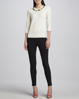 kate spade new york avaline golden-collar sweater & edie cigarette side-zip pants