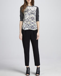 Rebecca Taylor Diamond-Print Baseball Tee & Structured Straight-Leg Cropped Trousers