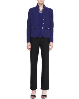 Eileen Fisher Double-Knit Felt Jacket, Jewel-Neck Jersey Top & Straight-Leg Pants, Petite