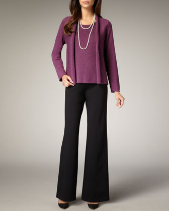 Washable-Wool Ribbed Jacket, Shell & Wide-Leg Wool Pants