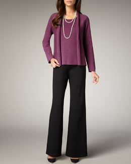 Eileen Fisher Washable-Wool Ribbed Jacket, Shell & Wide-Leg Wool Pants, Petite