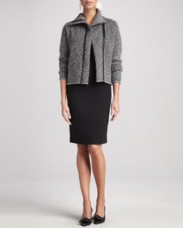Eileen Fisher Herringbone Zip-Front Jacket & Leather-Trim Sheath Dress, Petite
