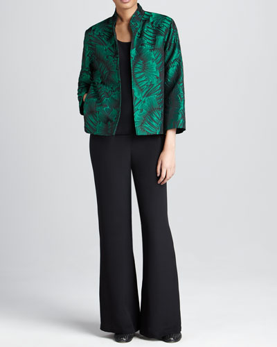Caroline Rose Leaf-Jacquard Jacket, Basic Silk Tank & Silk Wide-Leg Pants,