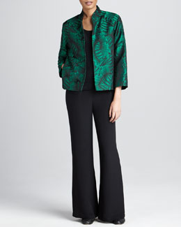 Caroline Rose Leaf-Jacquard Jacket, Basic Silk Tank & Silk Wide-Leg Pants, Petite