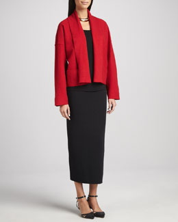Eileen Fisher Boiled Wool Kimono Jacket, Jersey Tunic & Ankle-Length Pencil-Skirt, Women's