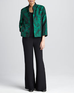 Caroline Rose Leaf-Jacquard Jacket, Basic Silk Tank & Silk Wide-Leg Pants, Women's