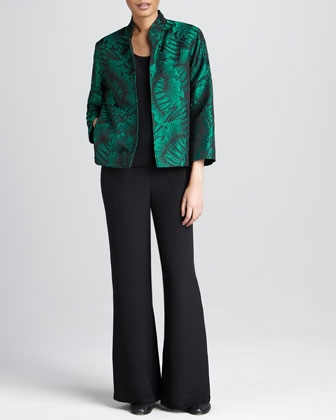 Leaf-Jacquard Jacket, Basic Silk Tank & Silk Wide-Leg Pants, Women's