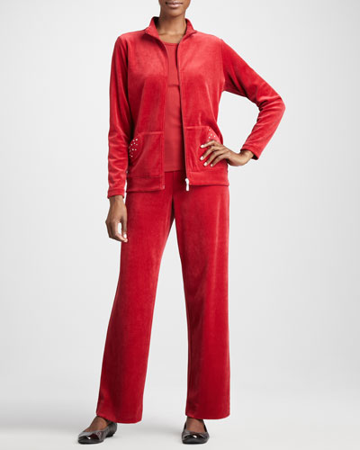 Joan Vass Velour Track Jacket, Sleeveless Tank & Velour Pants, Petite