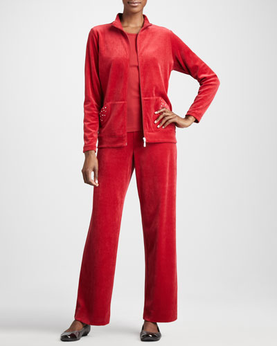 Joan Vass Velour Track Jacket, Sleeveless Tank & Velour Pants, Women's