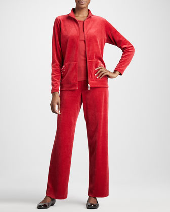 Velour Track Jacket, Sleeveless Tank & Velour Pants, Women's