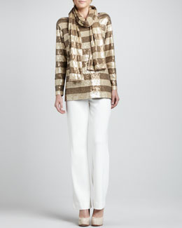 Joan Vass Striped Sequined Tunic, Scarf & Ponte Boot-Cut Pants