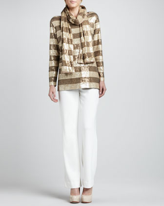 Striped Sequined Tunic, Scarf & Ponte Boot-Cut Pants, Petite
