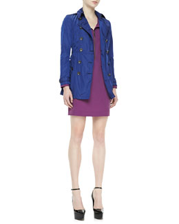 Burberry Brit Lightweight Iridescent Trenchcoat & Zip-Front Shift Dress