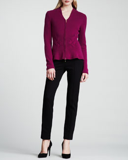 Escada V-Neck Zip-Front Cashmere Cardigan, Knit Tank & Dondi Jersey Side-Zip Pants