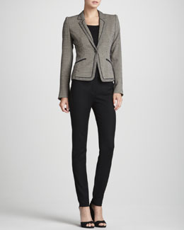 Rena Lange Geometric Jersey One-Button Jacket, Knit Wool-Silk Tank Top & Button-Front Stretch-Wool Leggings