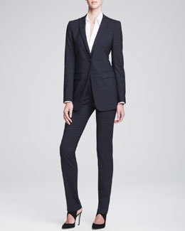 Armani Collezioni Long Unstructured One-Button Jacket & Slim-Leg Tab Trousers