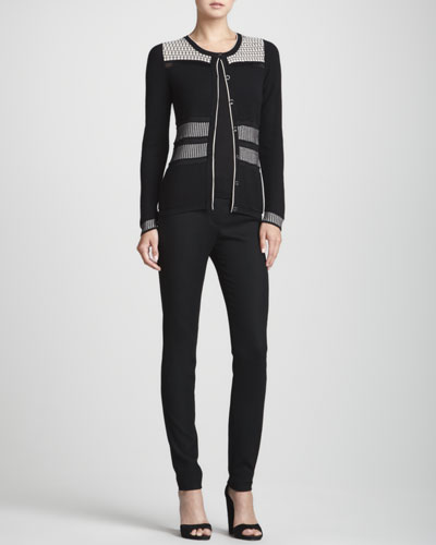 Rena Lange Multi-Texture Illusion-Detail Cardigan, Contrast-Trim Knit Tank Top & Button-Front Stretch-Wool Leggings