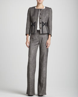 Rena Lange Geometric-Inset Tweed Jacket, Sleeveless Sequin-Placket Ruffle-Front Blouse & Straight-Leg Tweed Tuxedo Pants