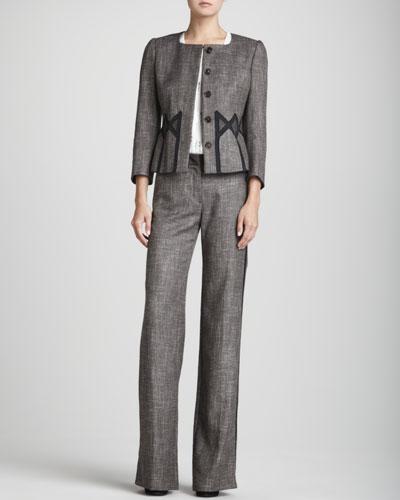 Rena Lange Geometric-Inset Tweed Jacket, Sleeveless Sequin-Placket Ruffle-Front Blouse & Straight-Leg Tweed Tuxedo Pants