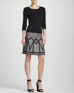 Rena Lange Seam-Detail 3/4-Sleeve Pullover & Geometric-Inset Tweed Skirt