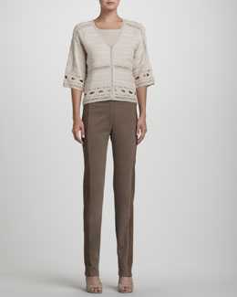 Rena Lange Crochet-Detail Bell-Sleeve Cardigan, Seam-Front Short-Sleeve Pullover & Suede-Inset Brushed Cotton Jeans