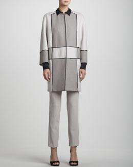 Rena Lange Mondrian Jersey Topper Jacket, Colorblock Dot Silk Blouse & Narrow Wool Twill Pants