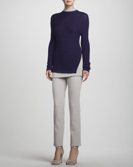 Rena Lange Hand-Knit Layered Trompe-l'Oeil Sweater & Narrow Wool Twill Pants