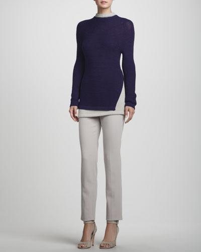 Rena Lange Hand-Knit Layered Trompe-l'Oeil Sweater & Narrow Wool Twill Pants