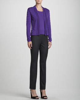Rena Lange Rib-Detail Open Cardigan, Knit Wool Tank Top & Narrow Wool Twill Pants