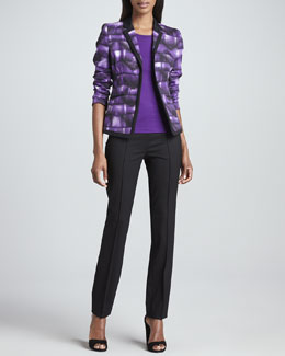 Rena Lange Abstract-Print Cotton Jacket, Stretch Silk Jersey Top & Slim Stretch Tropical Wool Pants