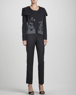Rena Lange Floral-Cutout Drape-Collar Cardigan, Knit Wool Tank Top & Narrow Wool Twill Pants
