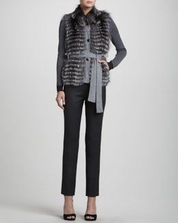 Rena Lange Reversible Knit/Fur Vest, Colorblock Long-Sleeve Pullover & Narrow Wool Twill Pants