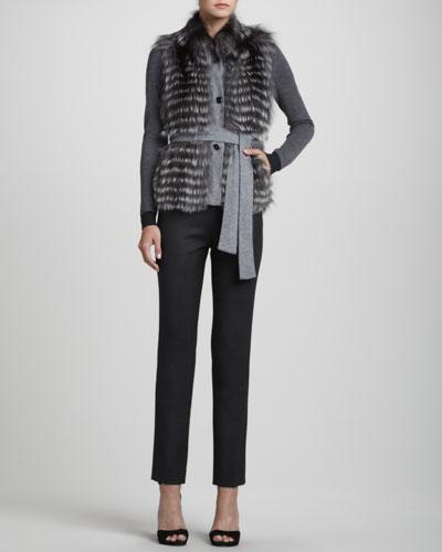 Rena Lange Reversible Knit/Fur Vest, Colorblock Long-Sleeve Pullover & Narrow Wool Twill Pants