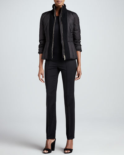 Rena Lange Quilted Zip-Front Puffer, Stretch Silk Jersey Top & Slim Stretch Tropical Wool Pants