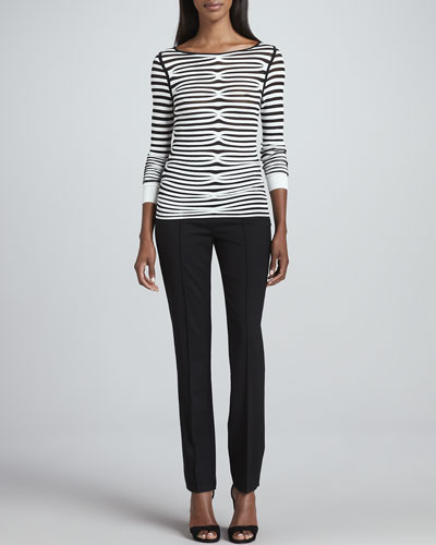 Rena Lange Illusion-Striped Long-Sleeve Top & Slim Stretch Tropical Wool Pants
