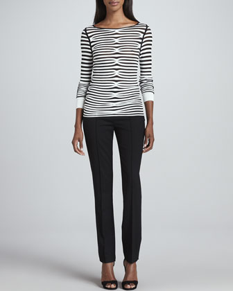 Illusion-Striped Long-Sleeve Top & Slim Stretch Tropical Wool Pants