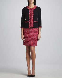 kate spade new york ginnifer tweed trimmed jacket, jolette three-quarter sleeve blouse & judy tweed pencil skirt