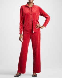 Joan Vass Velour Track Jacket, Sleeveless Tank & Velour Pants