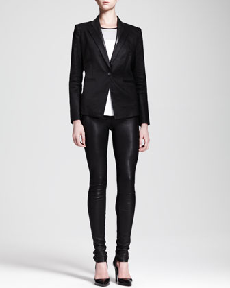 Glossy Linen Twill Blazer, Ion Jersey Colorblock Top & Stretch Leather ...