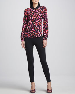 kate spade new york jessie button-front printed silk top & edie cigarette side-zip pants
